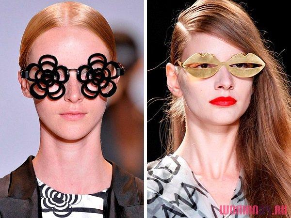 очки в форме цветов, губ